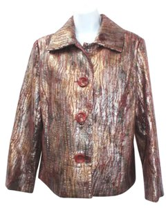 Erin London Faux Leather PEWTER/BURGUNDY Jacket