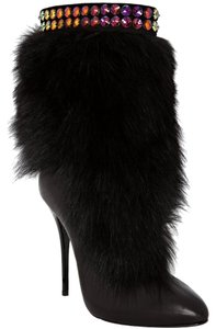 Giuseppe Zanotti Fox Fur Jewelled Cuff 35 5 Exquisite Extravagant Classy Black Boots
