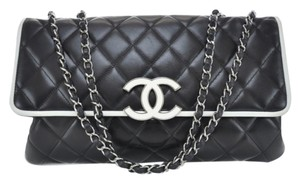 Chanel Silver Lambskin Shoulder Bag