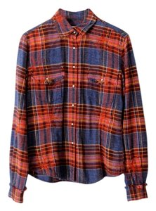 Ryan Michael Western Plaid Flannel Button Down Shirt Multi-Color