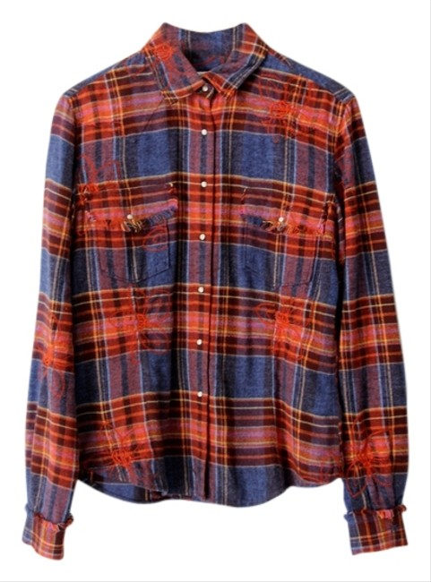 Ryan Michael Western Plaid Flannel Embroidered Button Down Shirt Multi-Color