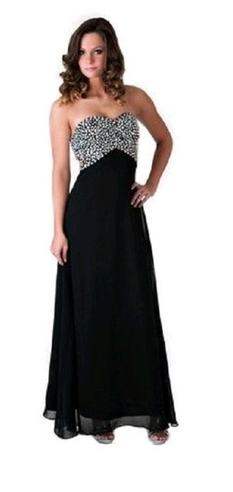 Black Chiffon Crystal Beads Bodice Open Long Formal Bridesmaid/Mob Dress Size 10 (M)