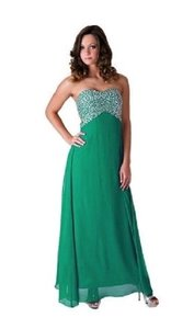Green Chiffon Styles Black Crystal Beads Bodice Open Back Long Formal Bridesmaid/Mob Dress Size 10 (M)
