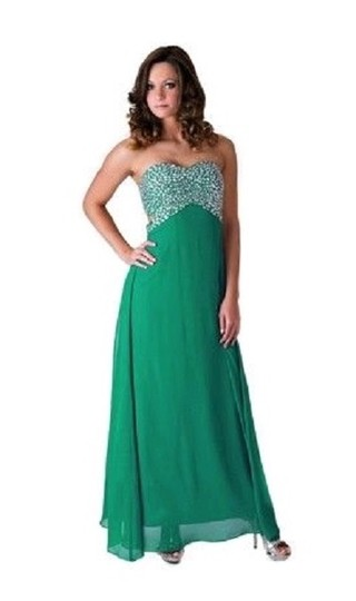 Green Chiffon Styles Black Crystal Beads Bodice Open Back Long Formal Dress Size 10 (M)