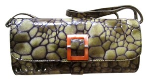 Donald J. Pliner Rare Style! J Tortoise Orange Buckle Convertible Clutch Shoulder Bag