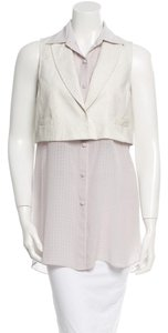Alexander Wang Leather Silk Top White and Sheer