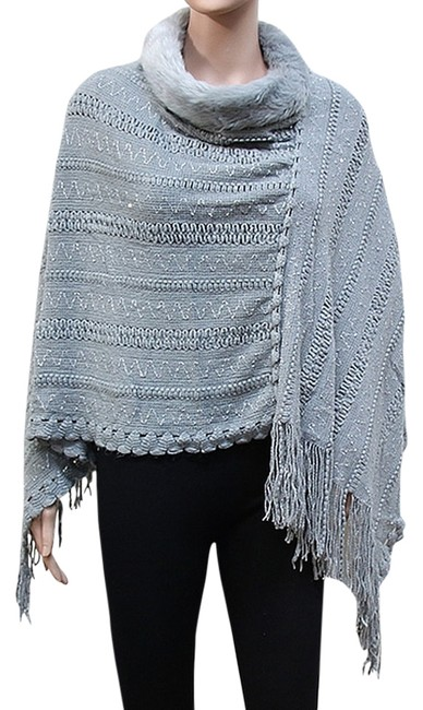 Preload https://img-static.tradesy.com/item/5557222/gray-fringed-faux-fur-trimmed-sequines-accent-wrap-ponchocape-size-os-one-size-0-0-650-650.jpg
