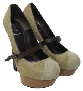 Fendi Mary Jane Platform Brown Pumps