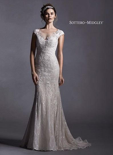 Maggie Sottero Ivory Over Light Gold Lace Quinlynn Vintage Wedding Dress Size 6 (S)