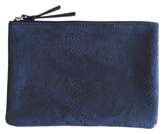 Item - Animal Print Fabric Blue 90% Polyester and 10% Spandex (Lining Is Polyester) Clutch