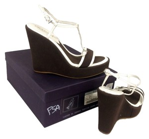 Prada Brown White Wedges