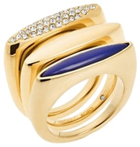 Michael Kors Crystal Lapis Stack Ring & YOUR choice of Lapis Blue Stud Earrings