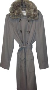 Old Navy Wool Faux Fur Belted Trench Coat