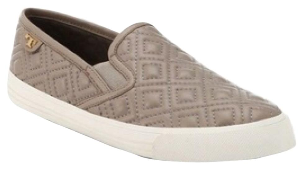 50517760281e Tory Burch Grey Jesse Quilted Leather Slip-on Sneakers Flats Size US ...