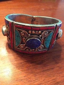 Blue, Turquoise, & Red Stone Bracelet on Silver-toned Metal