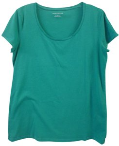 Ann Taylor Scoop Neck Cap Sleeve T Shirt Green