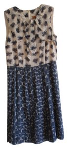 Tory Burch short dress Steely Blues and Cream Silk Floral Pleated on Tradesy