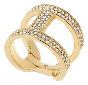 Michael Kors Gold-Tone and Clear Stone H Ring