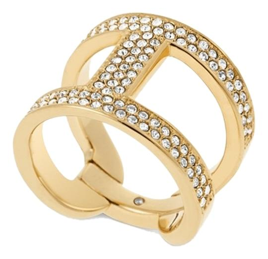 Preload https://img-static.tradesy.com/item/5557969/michael-kors-size-7-gold-tone-and-clear-stone-h-ring-0-0-540-540.jpg