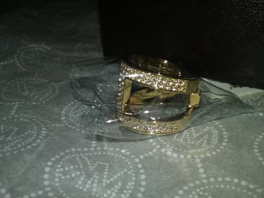 Michael Kors Size 7-Gold-Tone and Clear Stone H Ring