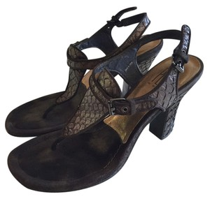 Pelle Moda Python Bronze Thong Brown/Bronze Sandals