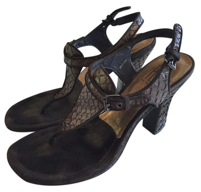 Pelle Moda Brown/Bronze Python Sandals Size US 7.5 Regular (M, B) Pelle Moda Brown/Bronze Python Sandals Size US 7.5 Regular (M, B) Image 1