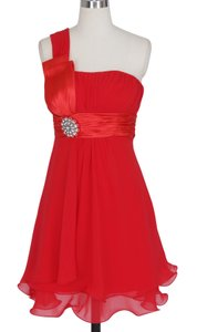 Red One Shoulder Pleated W/ Rhinestones Chiffon Dress