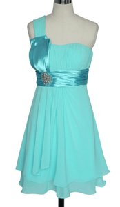 Blue One Shoulder Pleated W/ Rhinestones Dress