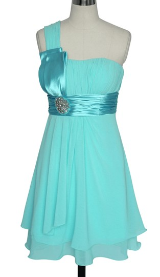 Blue Chiffon One Shoulder Pleated W/ Rhinestones Formal Bridesmaid/Mob Dress Size 4 (S)