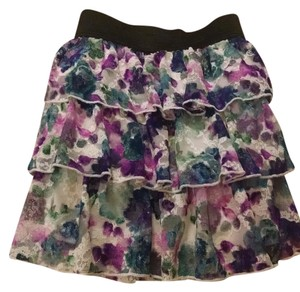 Macy's Ruffled Lace Floral Mini Skirt white multi-colored