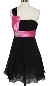 Black Chiffon One Shoulder Pleated W/ Rhinestones Formal Bridesmaid/Mob Dress Size 4 (S)