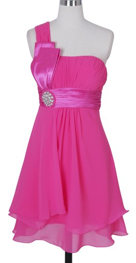Pink Chiffon One Shoulder Pleated W/ Rhinestones Formal Bridesmaid/Mob Dress Size 4 (S)