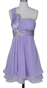 Purple Chiffon One Shoulder Pleated W/ Rhinestones Feminine Bridesmaid/Mob Dress Size 4 (S)