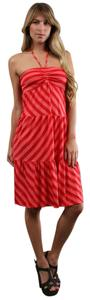 Ella Moss short dress Salmon/Peach stripes Halter Empire Waist Summer on Tradesy