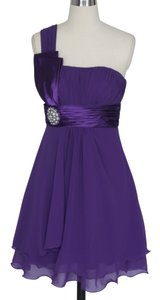 Purple One Shoulder Pleated W/ Rhinestones Dress