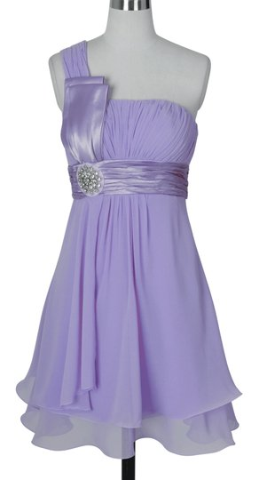 Purple Chiffon One Shoulder Pleated W/ Rhinestones Formal Bridesmaid/Mob Dress Size 8 (M)