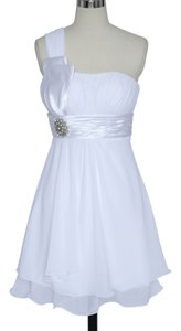 White Chiffon One Shoulder Pleated W/ Rhinestones Modern Dress Size 4 (S)