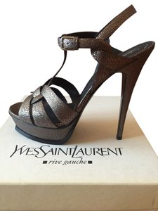 Saint Laurent Metallic Dark Grey Leather Platform Sandals