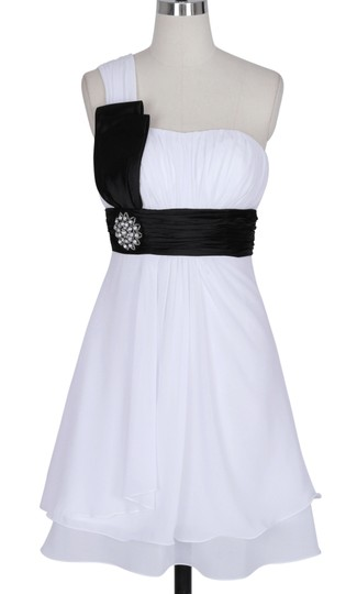 White Chiffon One Shoulder Pleated W/ Rhinestones Modern Dress Size 8 (M)