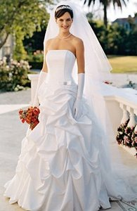 David's Bridal Strapless Satin Corset Gown With Pick-up Skirt Br Wedding Dress
