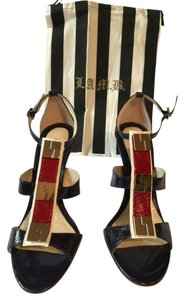 L.A.M.B. L.a.m.b. Patent Leather Navy Sandals