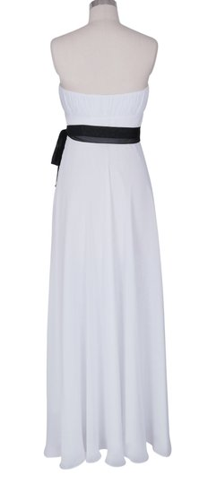 White Chiffon Strapless Long Pleated Bust W/ Sash Size:med Formal Dress Size 10 (M)