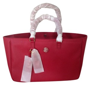 Tory Burch New New Roslyn Royale Kir Large Purse Handbag Logo Gold Dust Rare Tote in Red
