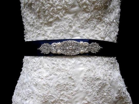 Beaded Crystal Belt Brooch Ribbon Sash