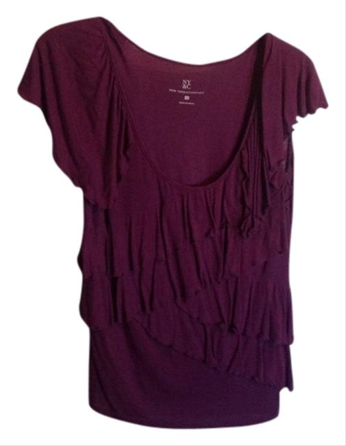 Preload https://item2.tradesy.com/images/new-york-and-company-plum-ruffled-shell-tank-topcami-size-8-m-555911-0-0.jpg?width=400&height=650