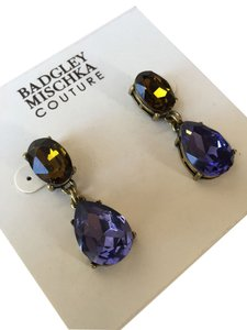 BM Badgely Mischka Badgley Mischka Couture Drop Earrings, Purple/Amber, New With Tags, $65.00