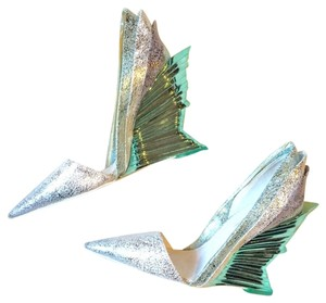 Christian Siriano Runway Metallic Space silver Wedges