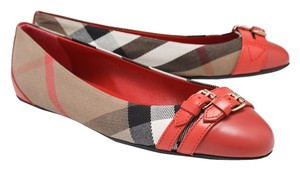 Burberry Avonwick Bright Coral Red Flats