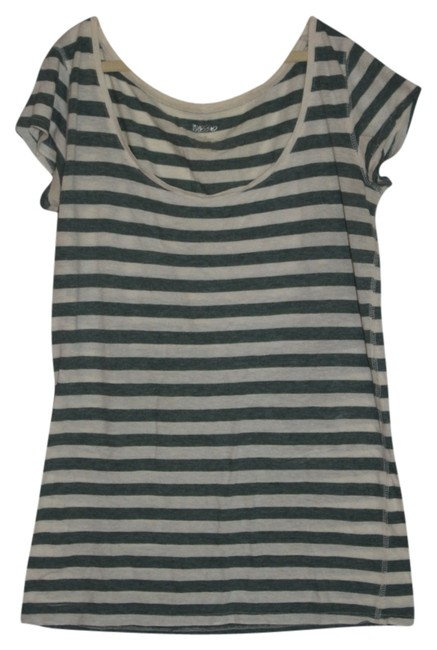 Mossimo Supply Co. T Shirt Pale Green and Ivory Stripes