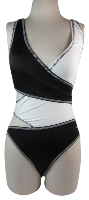 Item - Black L - Logo Swimsuit Sz: (8) One-piece Bathing Suit Size 8 (M)